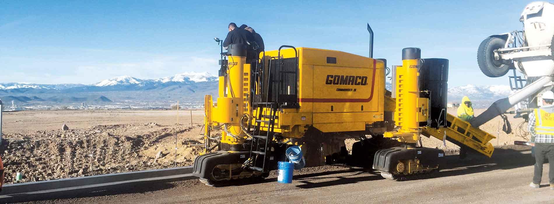 Gomaco Manufacturer Of Concrete Slipform Paving Equipment Next Generation Three Track Commander Iii